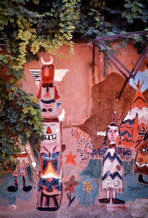 Murale con accampamento indiano