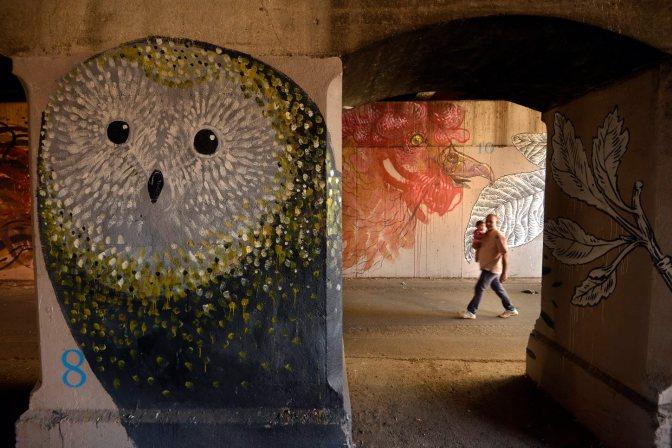 Ostiense. Murali a via delle Conce. Hitnes e Lucamaleonte cancellati nel sottopasso