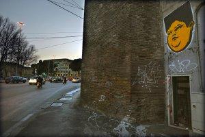 15/05/2017 Roma. Il poster (o l'adesivo) con il ragazzino obeso si trova un po' ovunque. Opera dell'artista romano JBROCK, è una immagine forte, irritante forse per alcuni visto che la si trova spesso deturpata